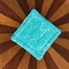 Load image into Gallery viewer, Andrea Verley Quilted Coasters - Dark Aqua & Cream