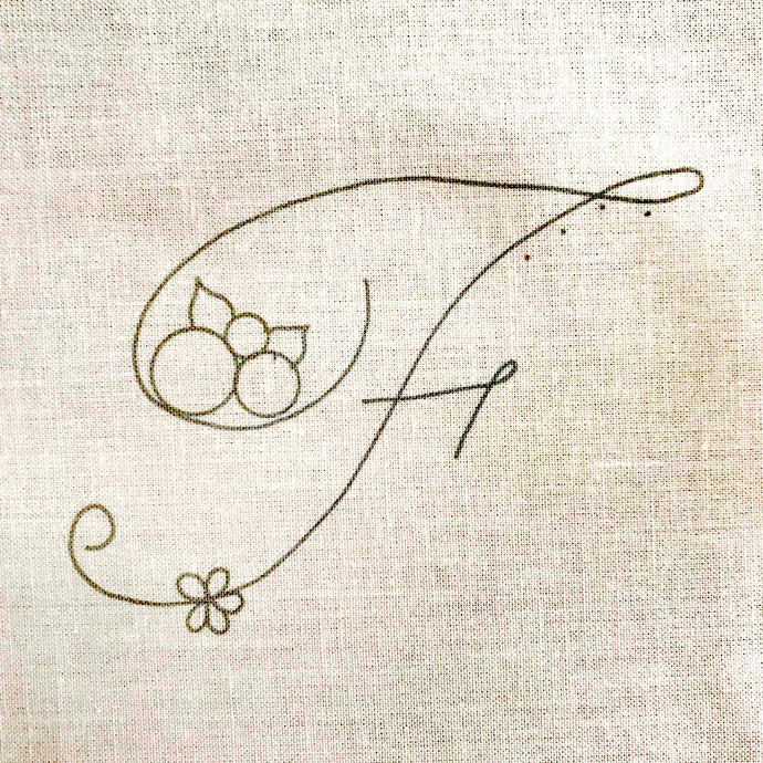 Floral Stitching Kit - Initial F