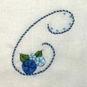 Floral Stitching Kit - Initial W