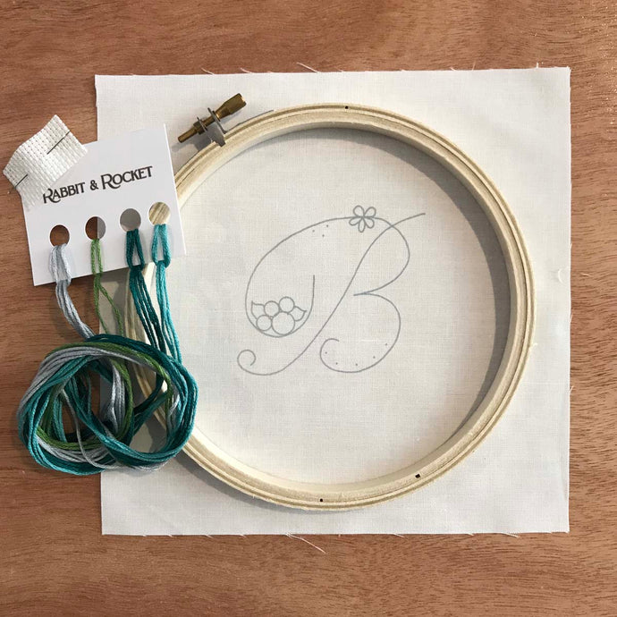 Floral Stitching Kit - Initial B