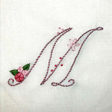 Load image into Gallery viewer, Floral Stitching Kit - Initial L