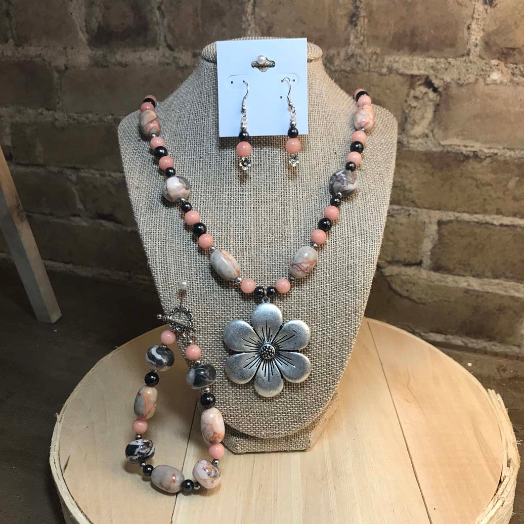 Kara Evans - Rhodochrocite and Red-Lined Marble Necklace Set