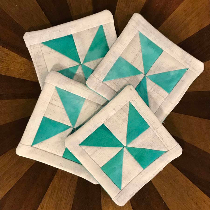 Andrea Verley Quilted Coasters - Teal & Cream