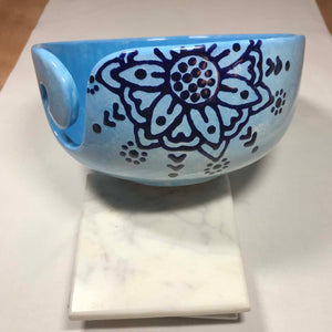 Hand-Painted Knitting Bowl - Blue-on-Blue Mandala