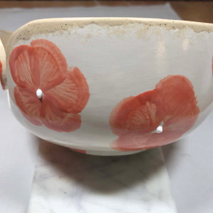 Hand-Painted Knitting Bowl - Coral Floral