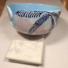 Load image into Gallery viewer, Hand-Painted Knitting Bowl - Light Blue Fern