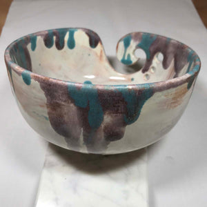 Hand-Painted Knitting Bowl - Paint Drips