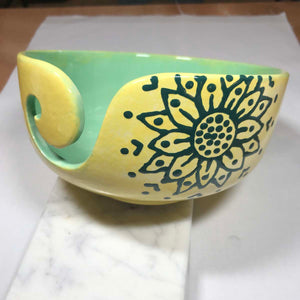 Hand-Painted Knitting Bowl - Yellow Green Mandala