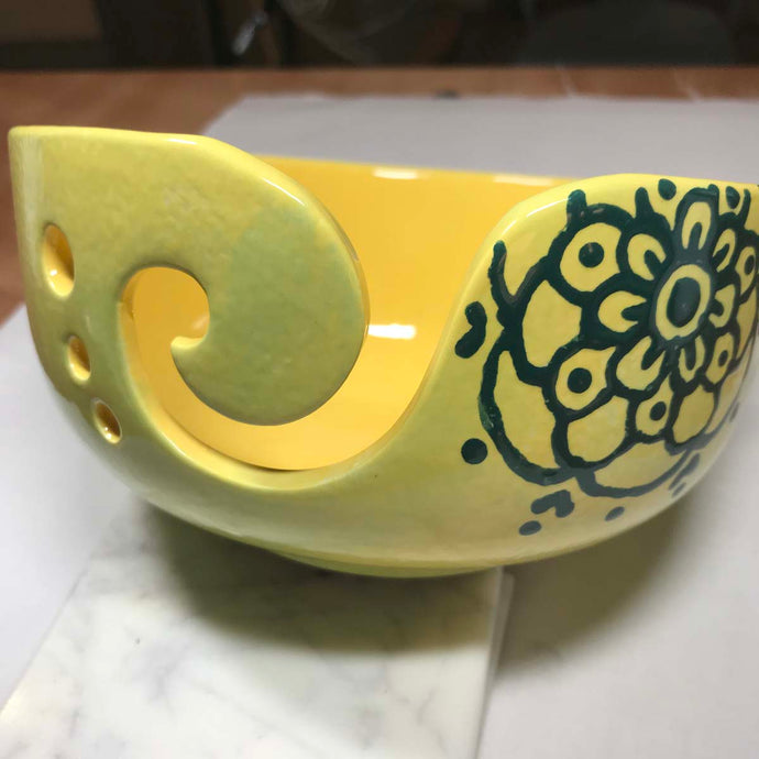 Hand-Painted Knitting Bowl - Yellow Mandala