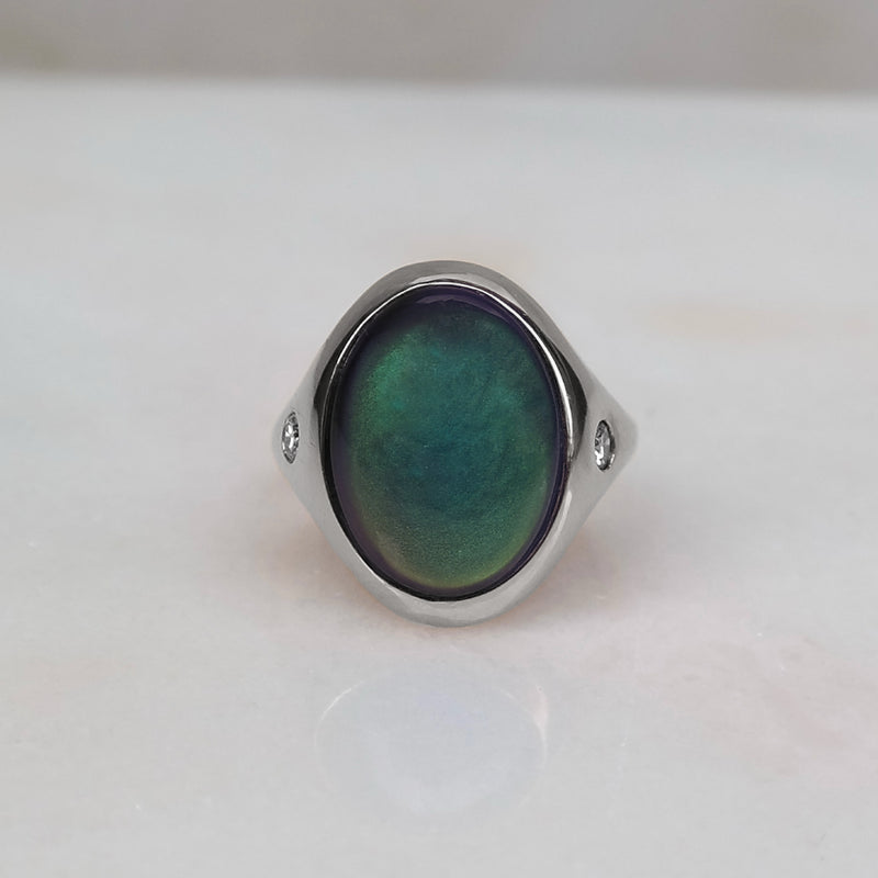 Mood ring 18k gold + diamonds