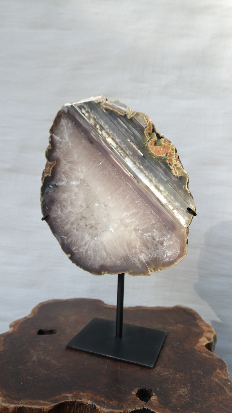 Thick Agate Slice On Iron Base