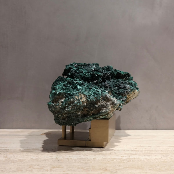Malachite On Brass Stand