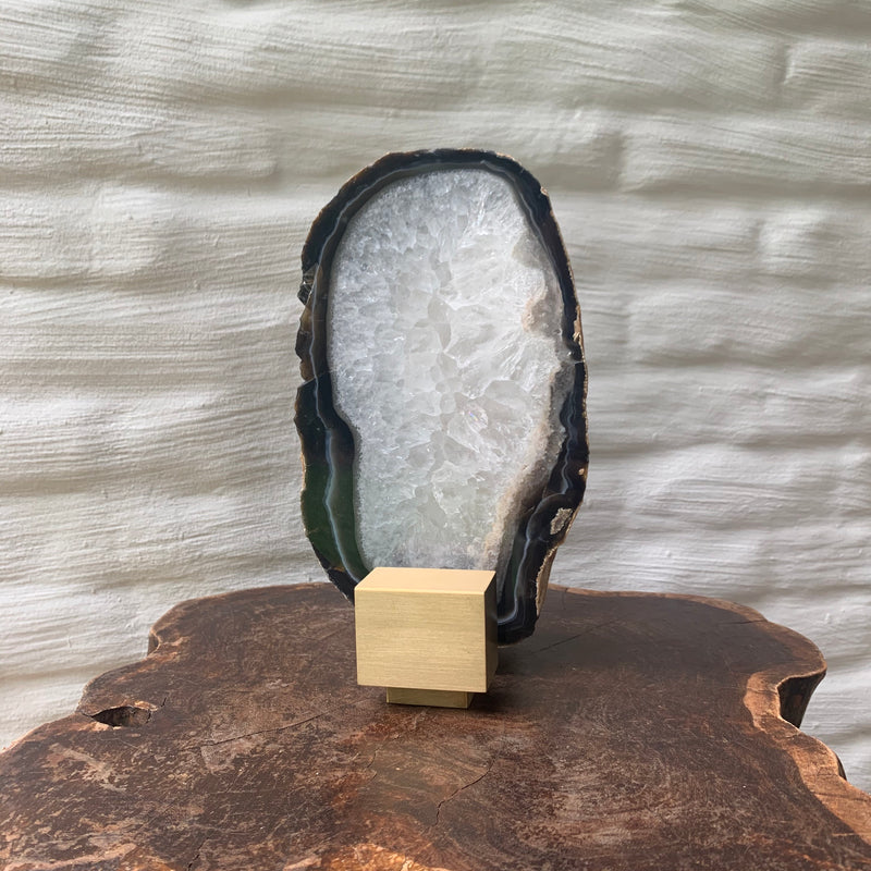 Agate Slice On Brass Stand