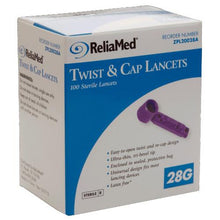 Load image into Gallery viewer, Reliamed 28G Safety Seal Lancets 100ct