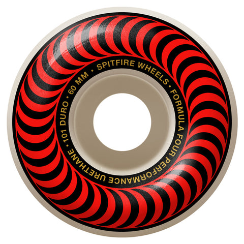 Spitfire Formula 4 Classic Swirl 101D 60mm Red Skateboard Wheels