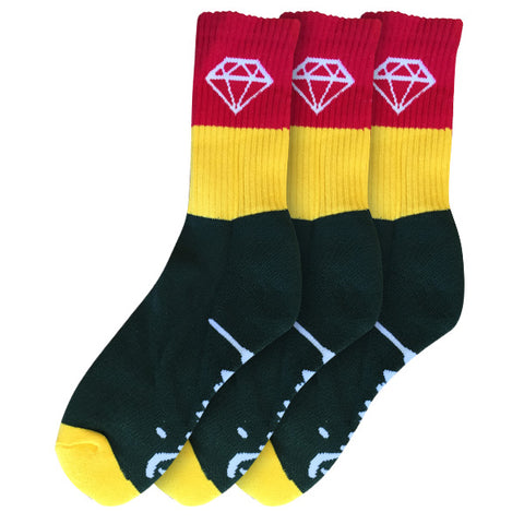 Diamond Rock Sport Socks Green/Yellow/Red 3 Pack