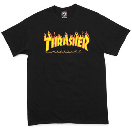Thrasher Flame Tee Black Medium