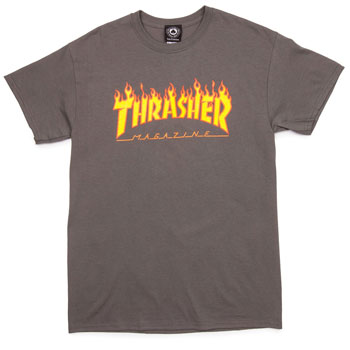 Thrasher Flame T Shirt Charcoal Large
