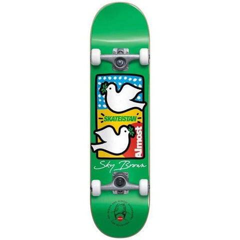 Almost Sky Brown Double Doves Skateistan Complete 7.75 Green
