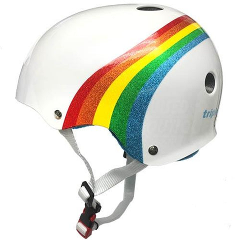 Triple 8 THE Certified SS Helmet Rainbow Sparkle White