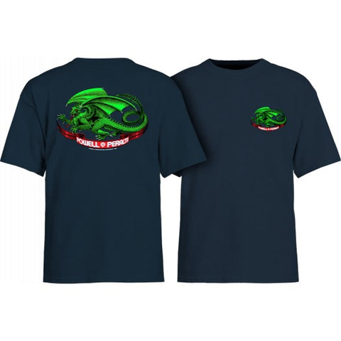 Powell Peralta Oval Dragon Tee Youth Small Navy