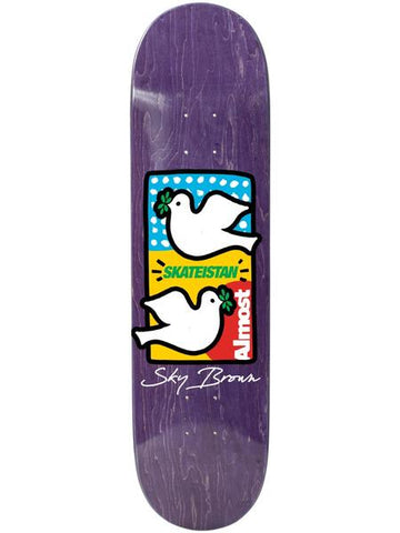 Almost Skateistan Double Doves Pink 7.75 Skateboard Deck