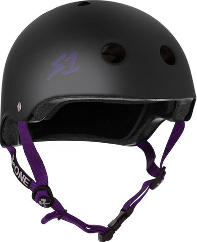 S-One Lifer Helmet Black Matte/Purple Straps