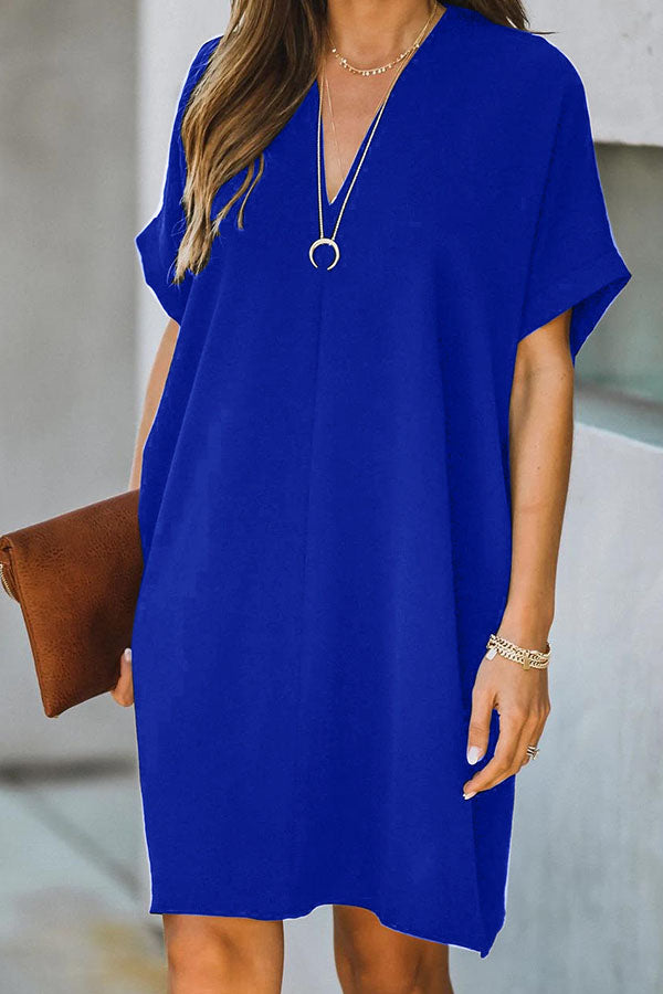 Short Sleeve Solid Color V Neck Leisurewear Dress