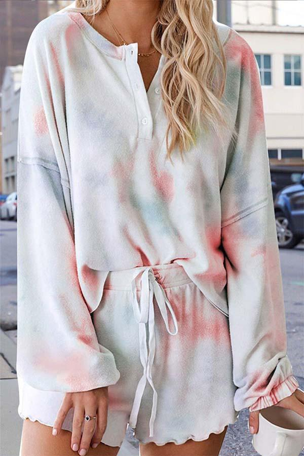 Long Sleeve Tie Dye Round Collar Single Breasted Playsuit