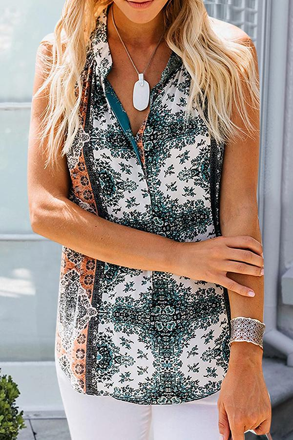 Sleeveless Natural Print V Neck Casual Wear Blouse