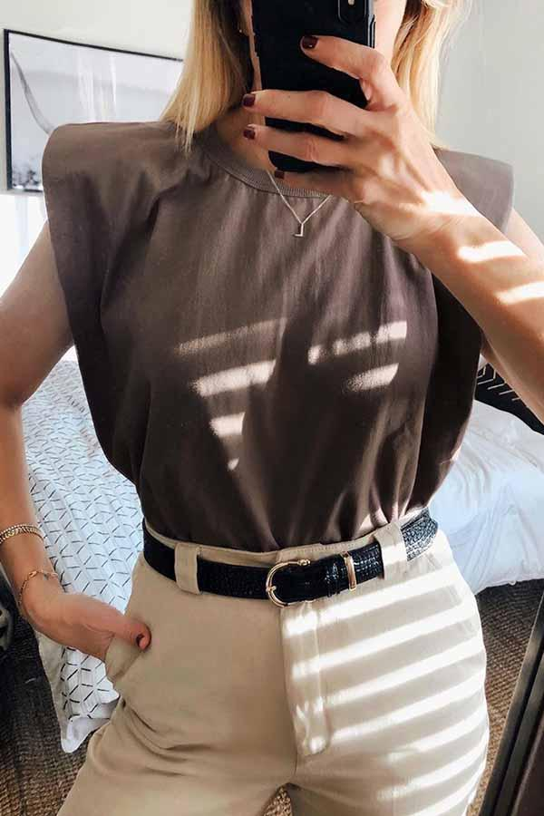 Sleeveless Solid Color Round Collar Casual Wear Top
