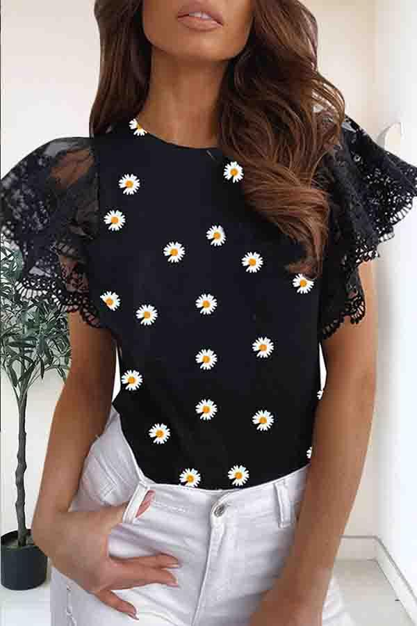 Lace Sleeve Floral Print Round Collar Casual Wear T-Shirt