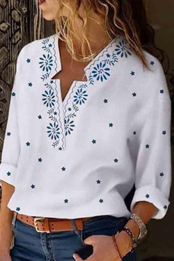 Long Sleeve Graphic Print V Neck Casual Wear Blouse