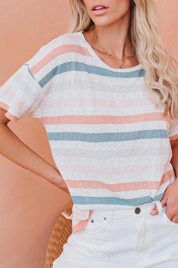 Short Sleeve Striped Round Neck Leisurewear T-Shirt