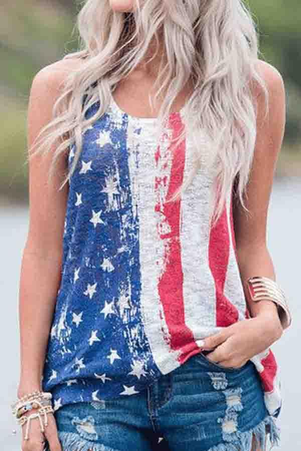 National flag Round Neck Casual Wear Vest