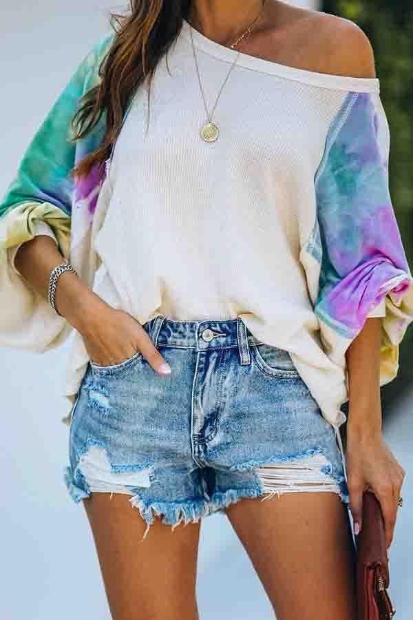 Patchwork Round Neck Casual Wear Blouse