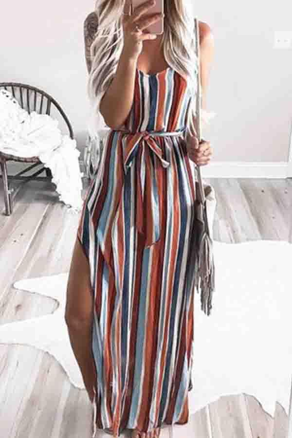 Sleeveless Striped Round Collar Fork opening Dress