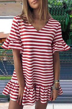 Flounce Sleeve Striped V Neck Pleated Dress