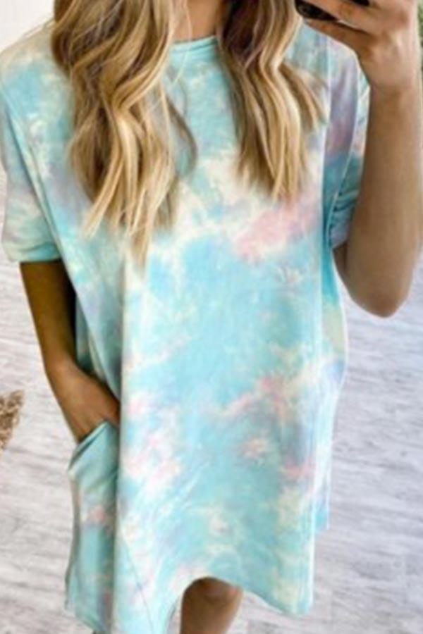 Short Sleeve Tie Dye Round Neck Leisurewear Dress