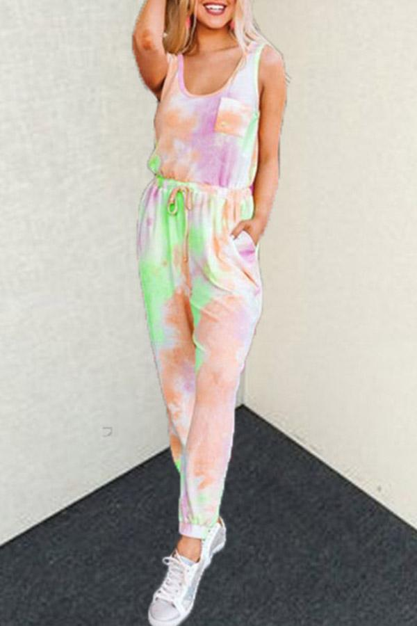 Tie Dye U collar Leisurewear Pant Set