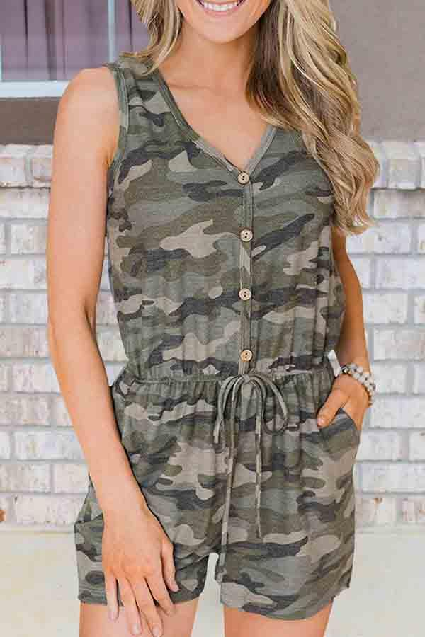 Sleeveless Camouflage V Neck Casual Wear Romper