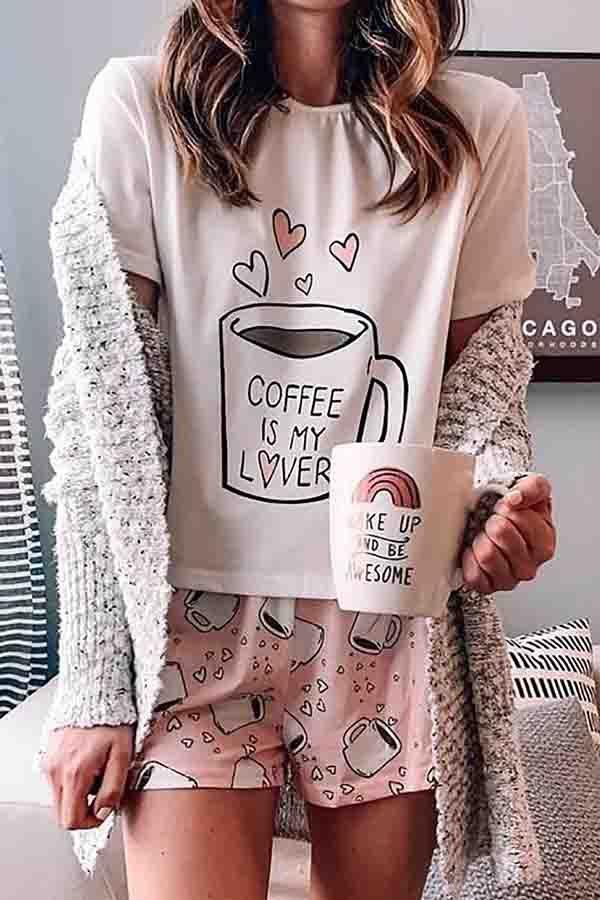Cartoon Print Round Collar Casual Wear Short Set