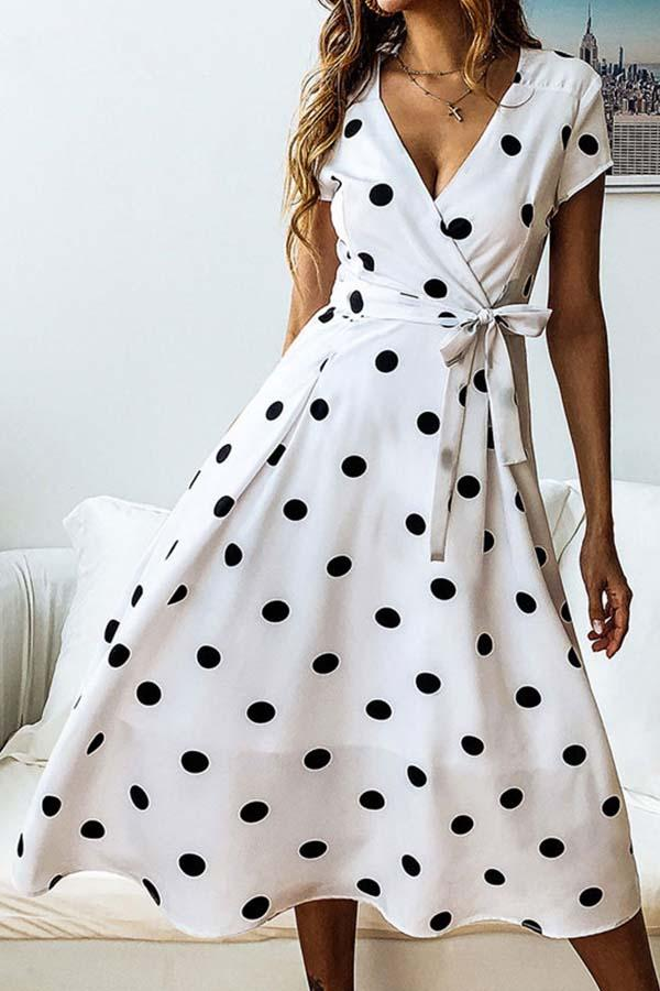 Short Sleeve Polka Dot V Neck Casual Wear Dress