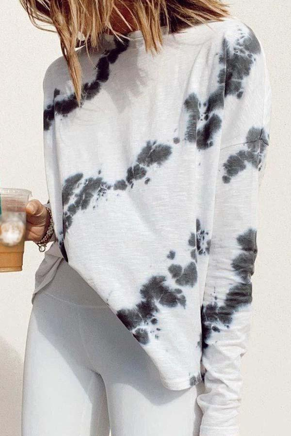 Long Sleeve Tie Dye Round Neck Leisurewear Top