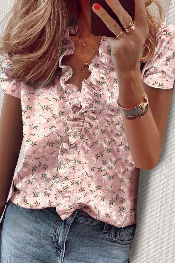 Short Sleeve Natural Print V Neck Casual Wear Blouse