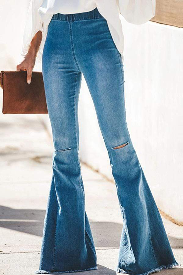 Regular Waist Solid Color Flared Hole Jeans