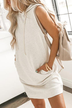 Solid Color Hooded collar Casual Wear Dress