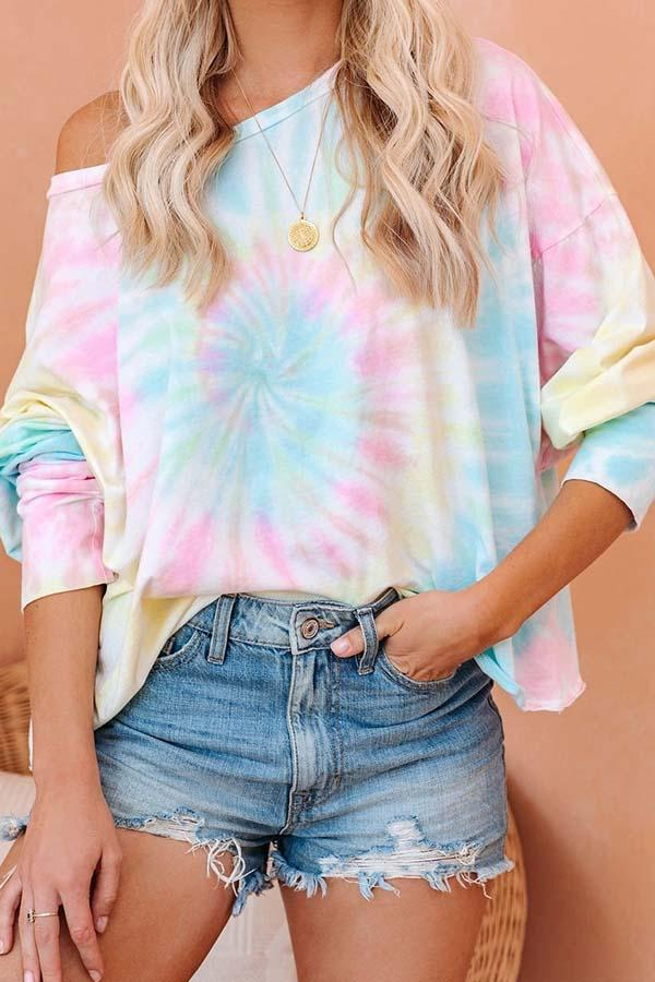 Long Sleeve Tie Dye One Shoulder Casual Wear T-Shirt