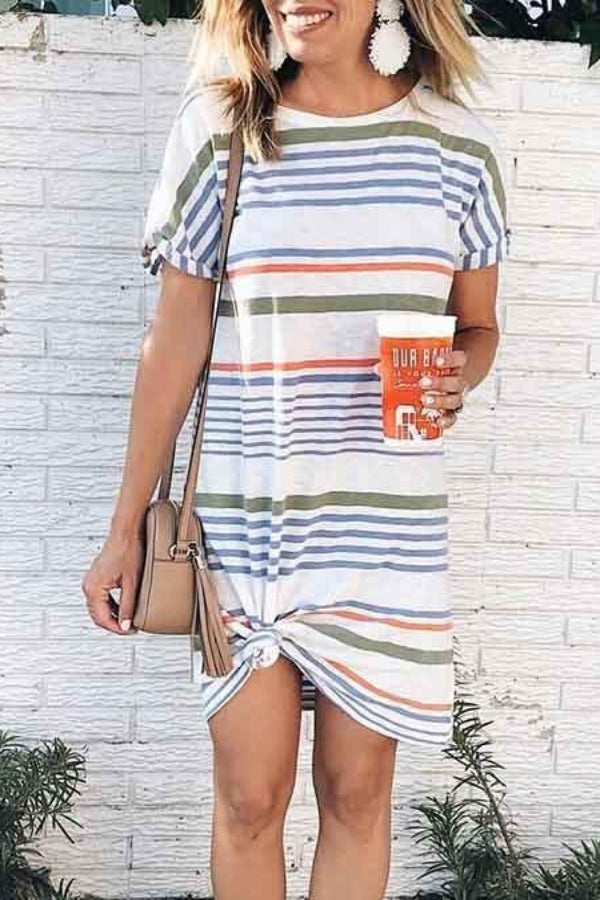 Short Sleeve Striped Round Collar Casual Dress