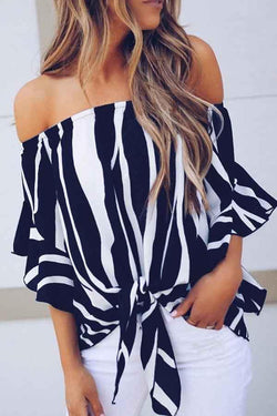 Long Sleeve Striped Off Shoulder Casual Wear Blouse
